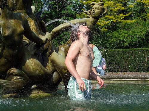 Man in fountain